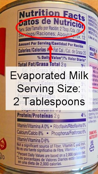 calories in evaporated milk