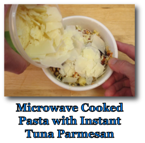 Microwave Cooked Pasta with Instant Tuna Parmesan