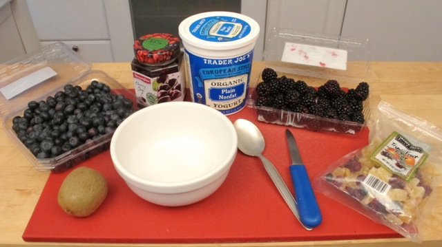 Needed to make kiwi, berries and yogurt