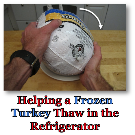 Helping a Frozen Turkey Thaw in Fridge