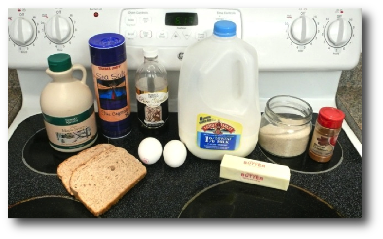 Pan Cooked French Toast Ingredients