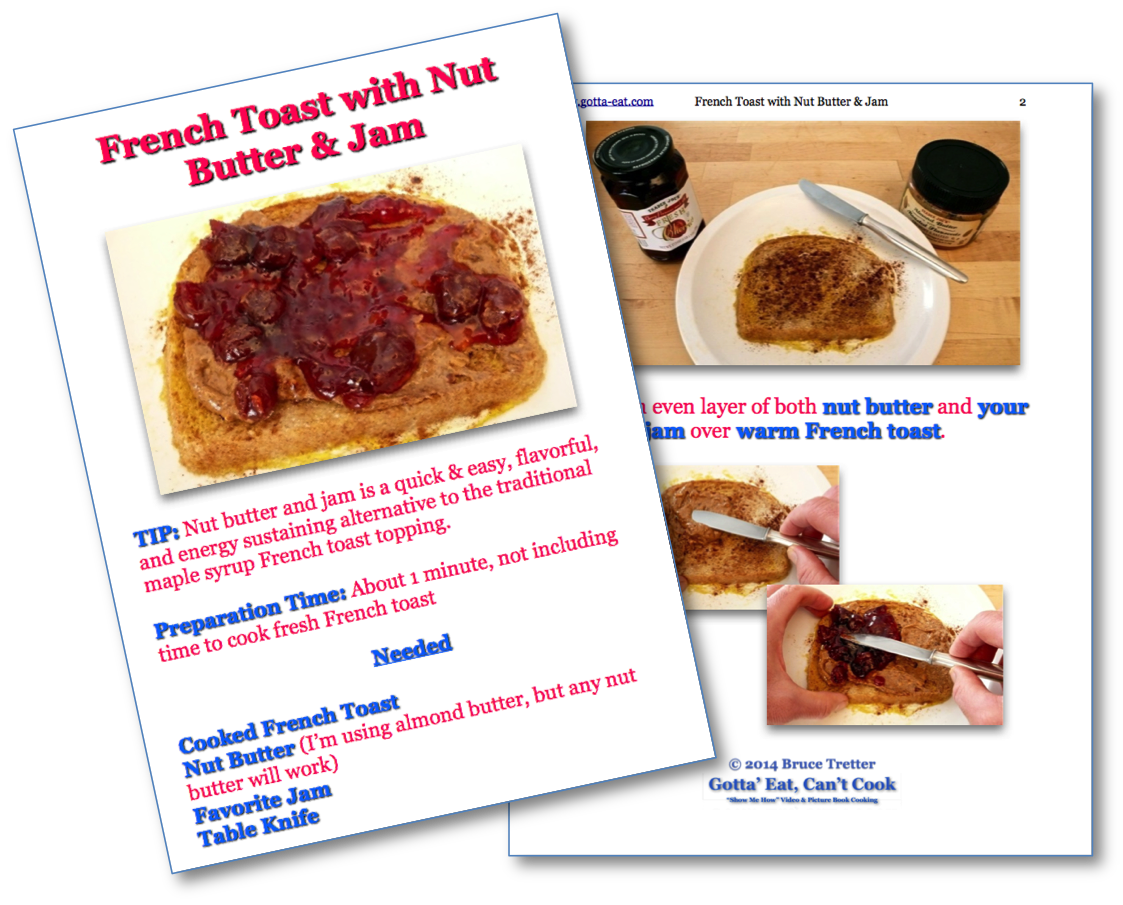 French Toast with Nut Butter and Jam Step-By-Step Picture Book Recipe pages