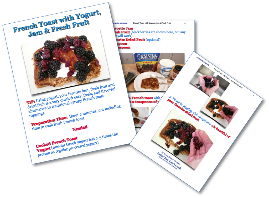 French Toast with Yogurt, Fresh Fruit & Jam Picture Book Recipe
