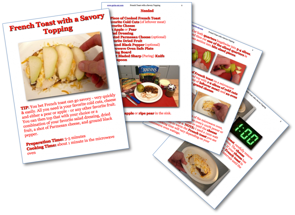 French Toast with a Savory Topping Picture Book Recipe Pages