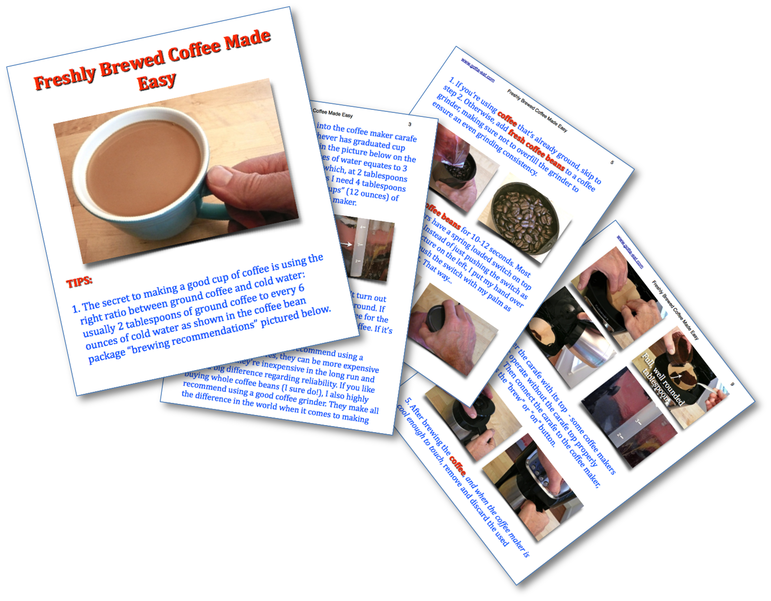 Freshly Brewed Coffee Step-By-Step Picture Book Recipe pages