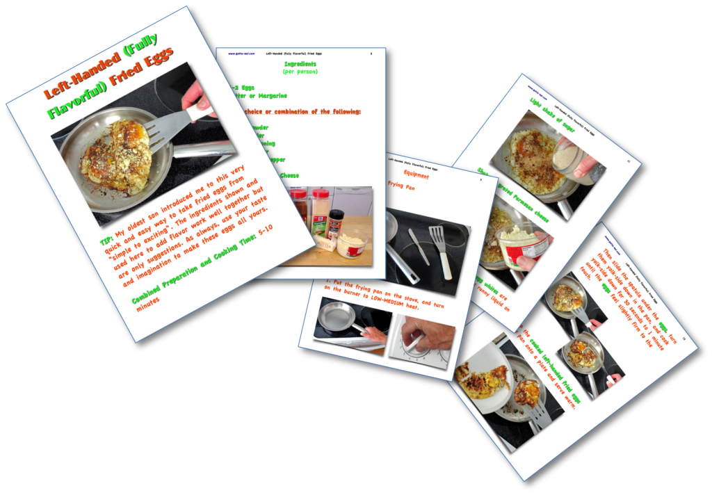 Left-Handed Eggs Step-By-Step Recipe pages