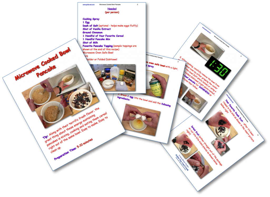 Microwave Cooked Bowl Pancake Picture Book Recipe pages