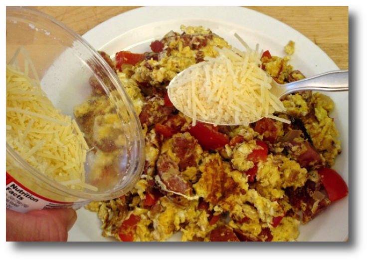 Scrambled Eggs with Sausage, Bell Pepper & Cheese