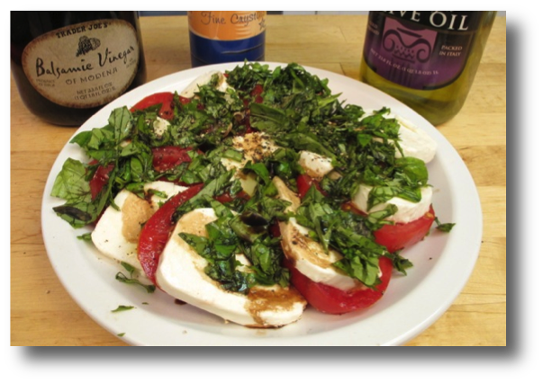 Step-by-step picture book recipe shows how to make a tomato, fresh basil and mozzarella cheese salad
