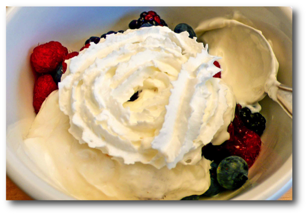 Fresh Berries, Yogurt, Jam & Whipped Cream