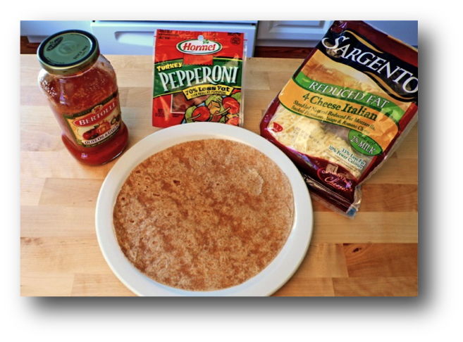 Microwave Cooked Tortilla Pizza Ingredients