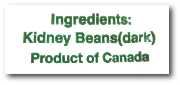 Dried Kidney Beans Ingredients Label