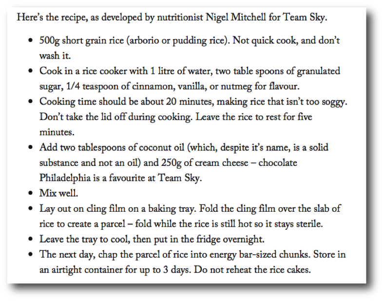 Nigel Mitchell's Team Sky Rice Cakes Recipe