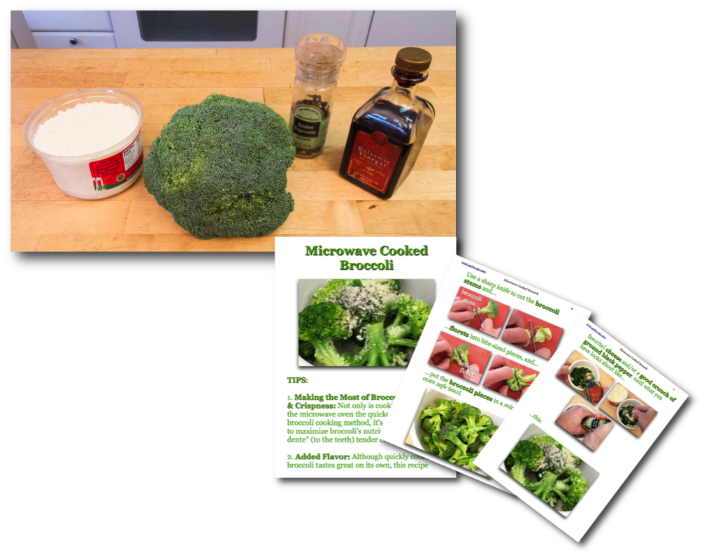 Microwave Cooked Broccoli Ingredients & PIcture Book Recipe