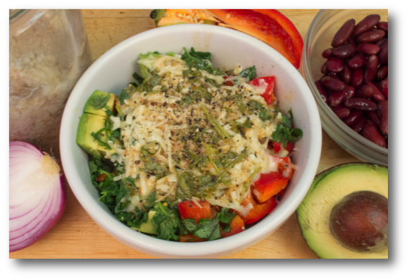 Savory Steel Cut Oats with Beans, Avocado & Bell Pepper