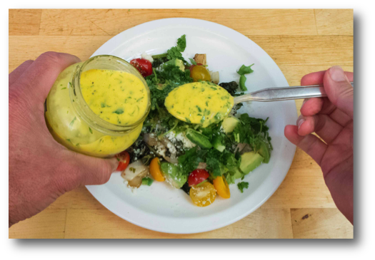 Fresh Ginger Cilantro Kefir Salad Dressing on Vegetable Tortilla