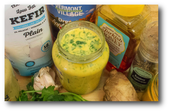 Fresh Ginger Cilantro Kefir Salad Dressing