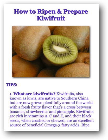 How to Ripen and Prepare Kiwifruit Picture Book Directions