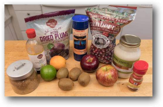 Apple Kiwi and Cranberry Fruit Topping Ingredients